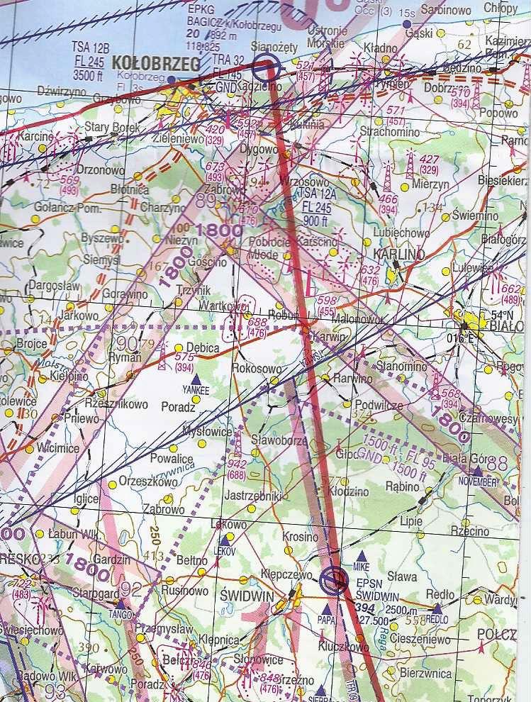Abschnitt der ICAO-Karte von Polen, zwischen Bagicz und Lubin
